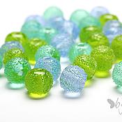 Бусины ручной работы. Ярмарка Мастеров - ручная работа Бусины стеклянные лэмпворк Сахарные светло-синие круглые. Handmade.