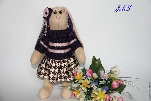 Зайка фиолетовая в стиле тильда