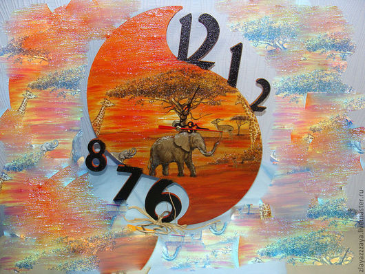 """Часы для дома ручной работы. Ярмарка Мастеров - ручная работа. Купить Часы """"САФАРИ"""". Handmade. Часы, интерьер, объем, мдф"""