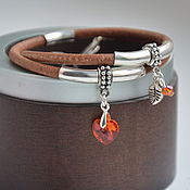 Украшения handmade. Livemaster - original item Bracelet leather 2 round