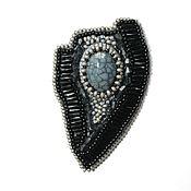 Украшения handmade. Livemaster - original item A beaded brooch with agate the Stroke of a pen. Handmade.