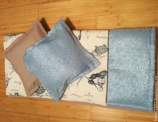 """Пледы и одеяла ручной работы. Ярмарка Мастеров - ручная работа. Купить Покрывало для мальчика на кровать """"Морское"""". Handmade. Голубой, морской"""