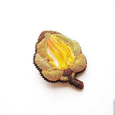 """Украшения ручной работы. Ярмарка Мастеров - ручная работа Брошь с шибори лентой """"Желтая роза любимая солнцем"""". Handmade."""