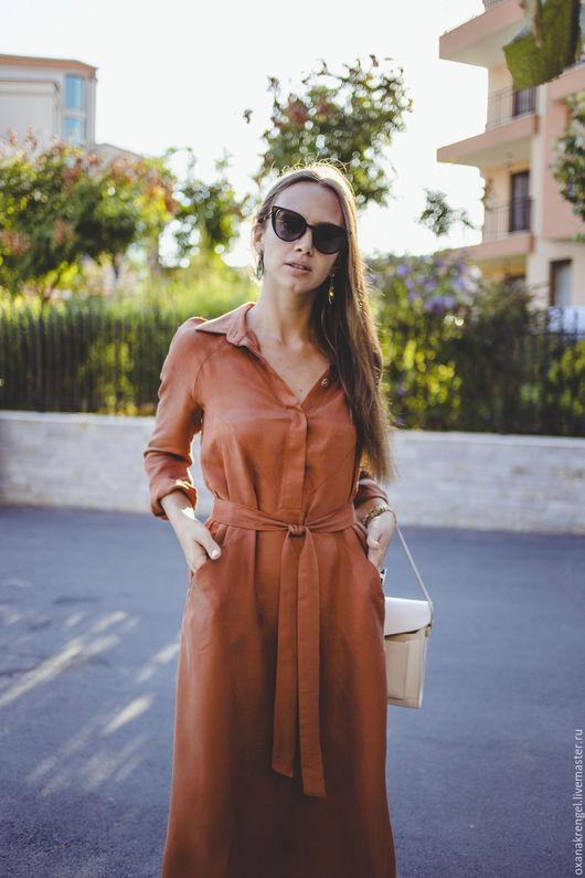 Платья ручной работы. Ярмарка Мастеров - ручная работа. Купить Шелковое платье-рубашка. Handmade. Рыжий, платье в офис, шёлк