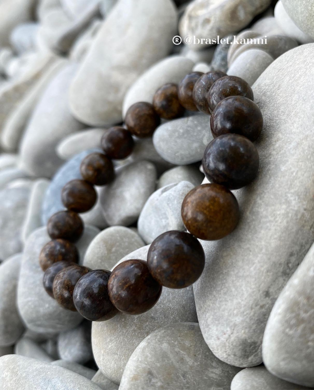 Браслет из натурального камня. Денежный камень БРОНЗИТ, Браслет из бусин, Краснодар,  Фото №1