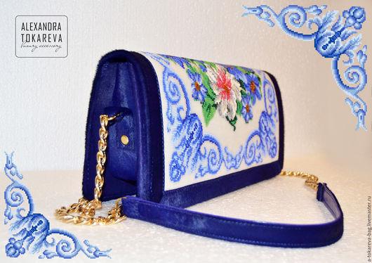 Женские сумки ручной работы. Ярмарка Мастеров - ручная работа. Купить Эксклюзивная сумка из меха пони ручной работы вышитая бисером « Maioli. Handmade.