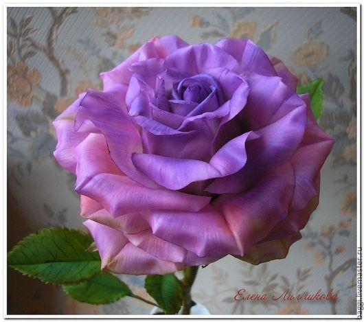 Цветы ручной работы. Ярмарка Мастеров - ручная работа. Купить Керамическая флористика.Сиреневая роза.. Handmade. Сиреневый, тайская глина