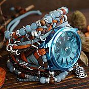 Украшения handmade. Livemaster - original item Blue wrist watch with stones