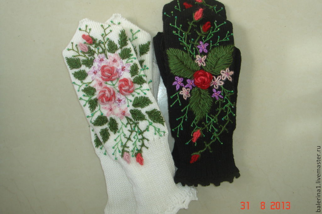 "Варежки""цветочная поляна""с вышивкой, Варежки, Магнитогорск,  Фото №1"