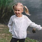 Одежда handmade. Livemaster - original item Jerseys: Children`s sweater with braids unisex in snow white color oversize. Handmade.