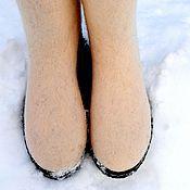 Обувь ручной работы. Ярмарка Мастеров - ручная работа Высокие валенки на подошве. Handmade.