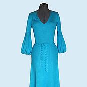 Одежда ручной работы. Ярмарка Мастеров - ручная работа Платье бирюзовое длинное. Handmade.