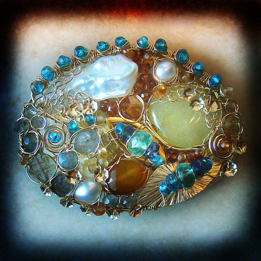 Brooches handmade. Livemaster - handmade. Buy Brooch 'The Sky Of Catalonia'.The sky, mother of pearl