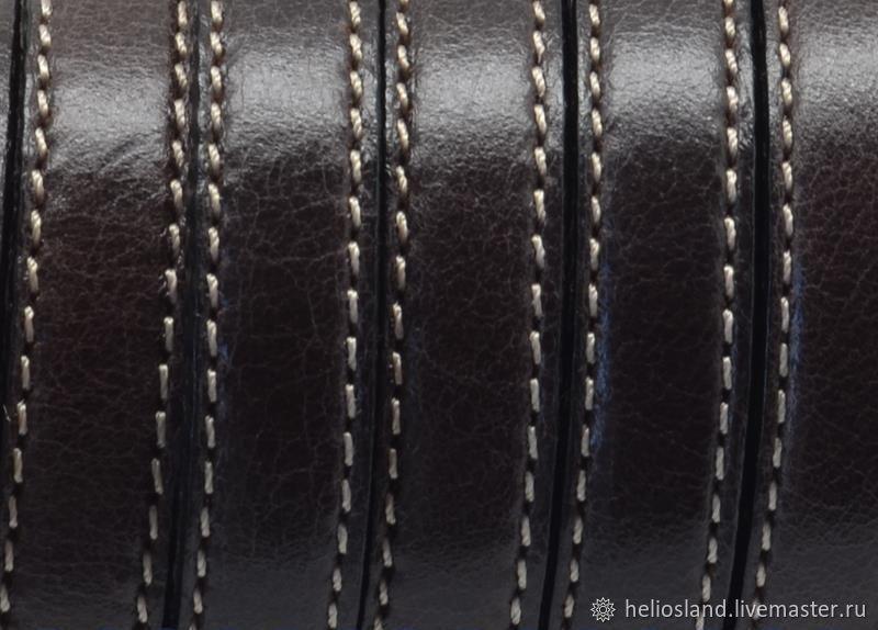 Кожаный шнур 10х2 мм с прострочкой коричневый, Шнуры, Москва,  Фото №1