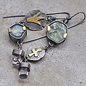Украшения handmade. Livemaster - original item Asymmetric earrings with beryl and kunzite. Handmade.