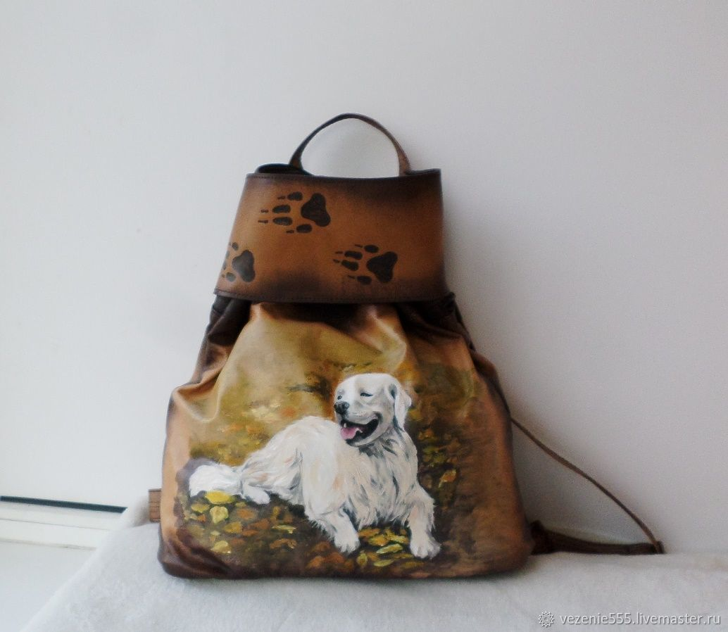 Backpack leather with painting and engraving to order for Anna, Backpacks, Noginsk,  Фото №1