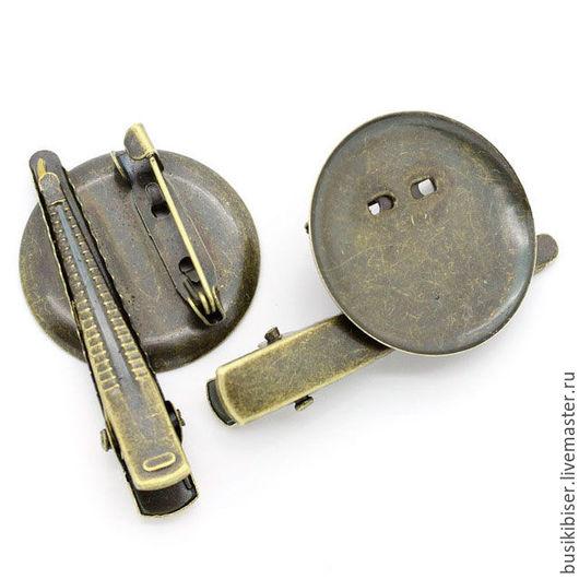 Основы для брошей/значков/заколок круглые 44x29мм. Античная бронза