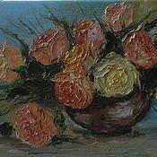 Картины и панно handmade. Livemaster - original item Oil painting on canvas Roses in a vase. Handmade.