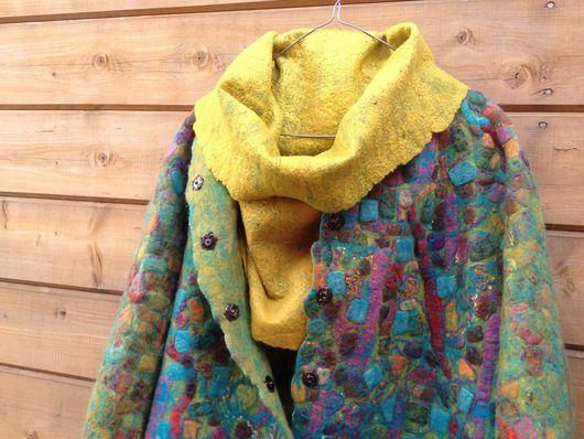 Верхняя одежда ручной работы. Ярмарка Мастеров - ручная работа. Купить Валяное пальто Mosaic. Handmade. Войлок ручной работы