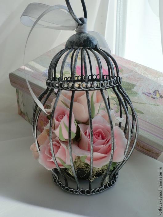 Интерьерные композиции ручной работы. Ярмарка Мастеров - ручная работа. Купить Шебби-клеточка с розами. Handmade. Кремовый, цветы в клетке