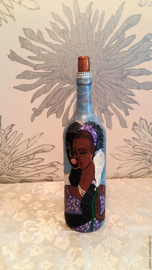 """Дизайн интерьеров ручной работы. Ярмарка Мастеров - ручная работа. Купить Бутылка ручная роспись """"Африка 2"""". Handmade. Африка"""