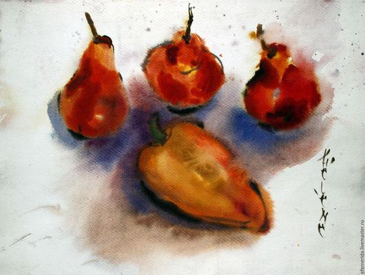 Натюрморт ручной работы. Ярмарка Мастеров - ручная работа. Купить акварель натюрморт с овощами. Handmade. Салатовый, перец, фрукты, бумага
