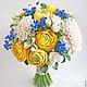 Свадебные цветы ручной работы. Ярмарка Мастеров - ручная работа. Купить Букет невесты с желтыми ранункулюсами полимерной глины. Handmade.