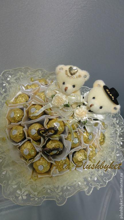 Подарки на свадьбу ручной работы. Ярмарка Мастеров - ручная работа. Купить Свадебный букет с конфетами и мишками. Handmade. Бежевый