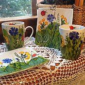 """Посуда ручной работы. Ярмарка Мастеров - ручная работа Чашка с блюдцем """"Полевые цветы"""". Handmade."""