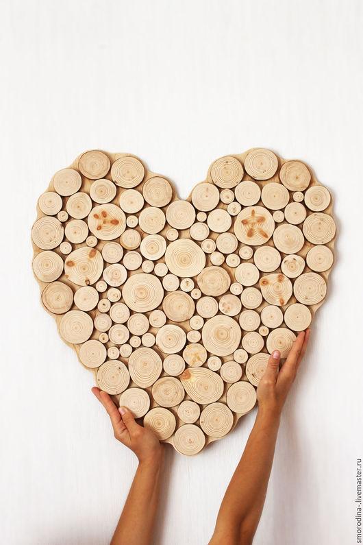 """Подарки для влюбленных ручной работы. Ярмарка Мастеров - ручная работа. Купить Панно """"Сердце из спилов"""". Handmade. Бежевый, спил, сосна"""