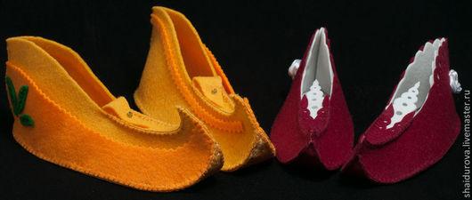 Детская обувь ручной работы. Ярмарка Мастеров - ручная работа. Купить Тапочки из фетра детские для карнавала.. Handmade. Абстрактный, бусины