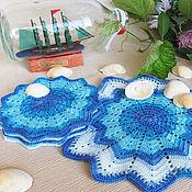 Для дома и интерьера ручной работы. Ярмарка Мастеров - ручная работа Краски моря - сервировочные салфетки подставки под чашки голубой. Handmade.