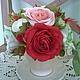 """Вазы ручной работы. Ярмарка Мастеров - ручная работа. Купить Интерьерная композиция """"Татьяна"""". Handmade. Разноцветный, шиповник, розы из фоамирана"""