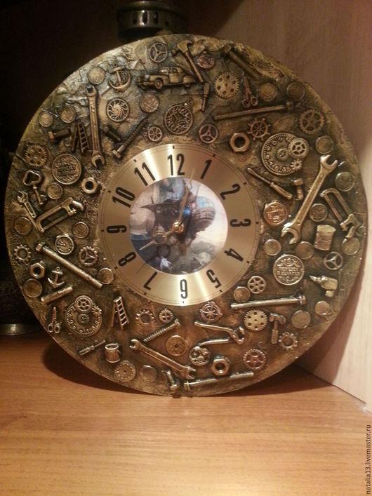 Часы для дома ручной работы. Ярмарка Мастеров - ручная работа. Купить Настенные часы в стиле стимпанк. Handmade. Золотой