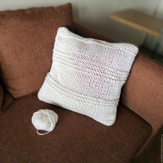Текстиль, ковры ручной работы. Ярмарка Мастеров - ручная работа. Купить Подушка спицами из толстой пряжи для интерьера. Handmade. Комбинированный