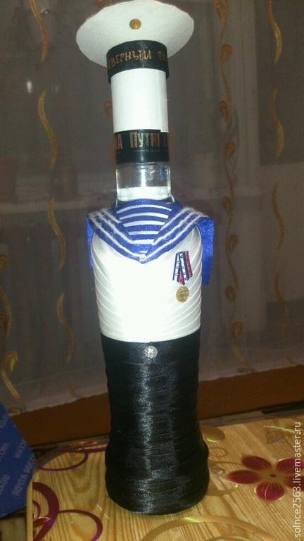 Подарочное оформление бутылок ручной работы. Ярмарка Мастеров - ручная работа. Купить Морячок. Handmade. Белый, моряк, ленты, подарок