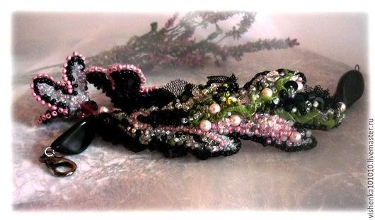 """Браслеты ручной работы. Ярмарка Мастеров - ручная работа. Купить браслет """"Сибирские туманы"""". Handmade. Разноцветный, ручная вышивка"""
