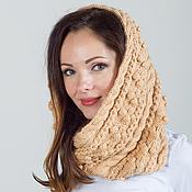 """Аксессуары ручной работы. Ярмарка Мастеров - ручная работа """"Мечта королевы"""", шарф снуд вязаный женский, шарф вязаный песочный. Handmade."""