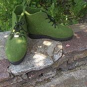 """Обувь ручной работы. Ярмарка Мастеров - ручная работа Ботинки женские валяные """"Травка"""".. Handmade."""