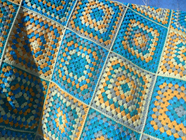 Плед из бабушкиных квадратов крючком схемы картинки