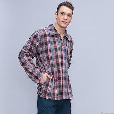 Одежда ручной работы. Ярмарка Мастеров - ручная работа Мужская Рубашка из тонкой хлопковой фланели в синих тонах. Handmade.