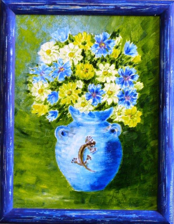 Букет в голубом горшке, Картины, Королев, Фото №1