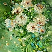 handmade. Livemaster - original item Oil painting on canvas. Lush blossoms of wild rose.. Handmade.