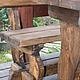 Стол и скамейки, брашированные, с эффектом состаренности  Принимаем заказы на изготовление предметов мебели из НАТУРАЛЬНОГО дерева. С условиями покупки и размещения заказа можно ознакомиться в прави