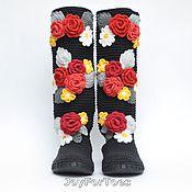 Обувь ручной работы. Ярмарка Мастеров - ручная работа Черные сапожки с цветами (улица). Handmade.