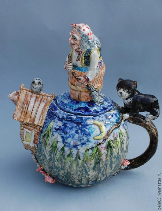 """Чайники, кофейники ручной работы. Ярмарка Мастеров - ручная работа. Купить Чайник""""Баба-яга и сказочный лес"""". Handmade. Чайник"""