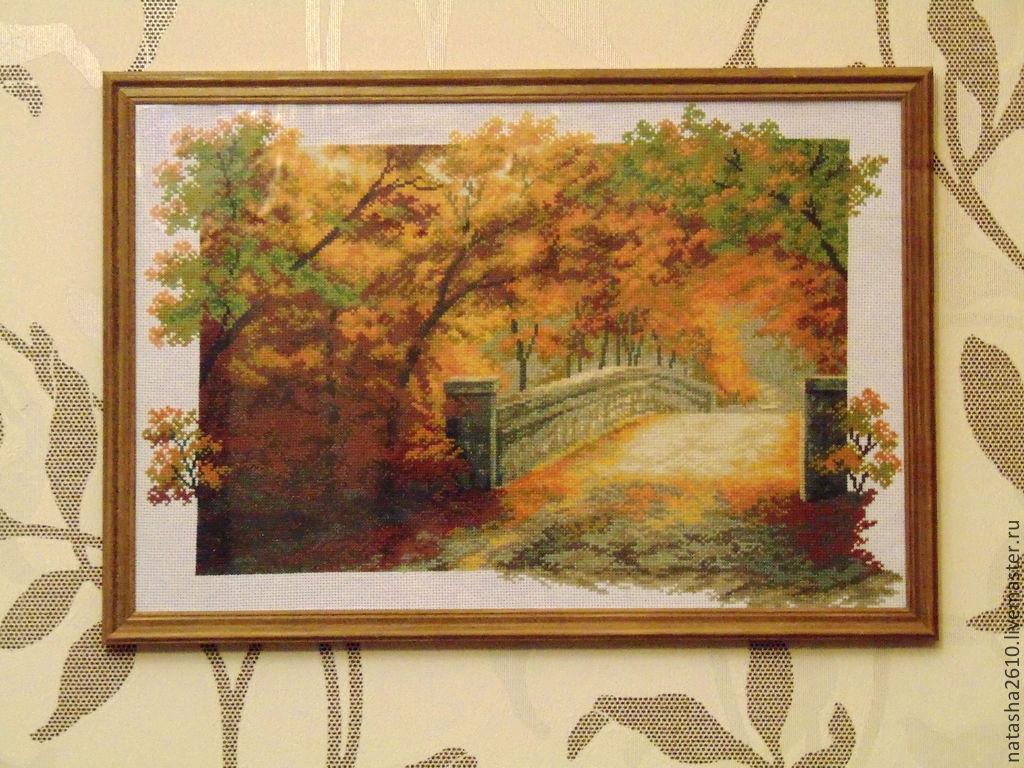 Картина осенний пейзаж вышивка
