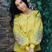 "Одежда handmade. Livemaster - original item Эксклюзивная вышитая блуза ""Солнечные Адонисы"" ручная вышивка. Handmade."