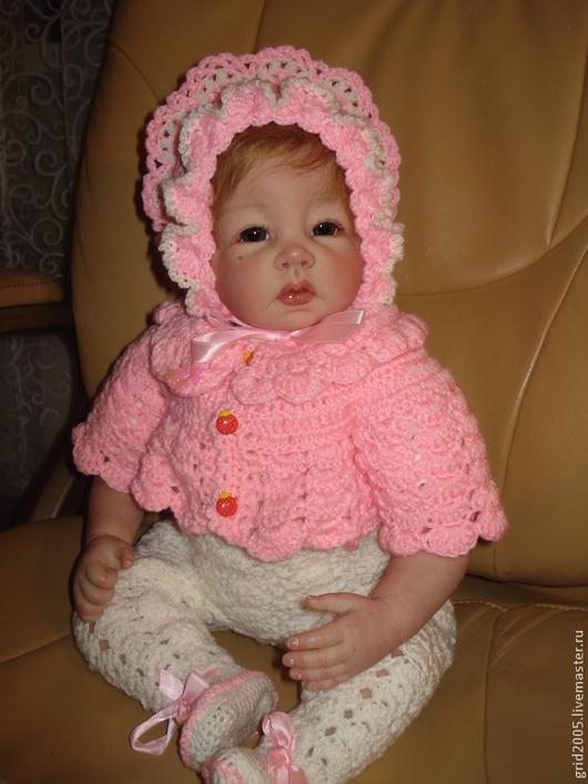 Одежда для девочек, ручной работы. Ярмарка Мастеров - ручная работа. Купить Комплект для куклы. Handmade. Фуксия, акриловая пряжа