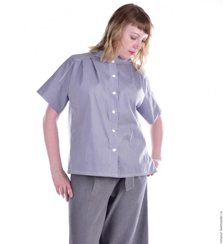 Купить Рубашка из хлопка в полоску серая в интернет магазине на Ярмарке Мастеров